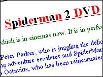 Spider-Man 2 DVD ad on eBay