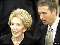 Nancy Reagan (left) and Ron Reagan (right) at President Reagan's funeral last month