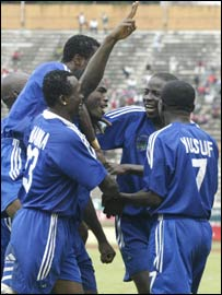 Enyimba's players celebrating the win over Africa Sports of Ivory Coast