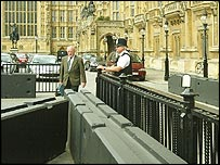 Concrete barrier blocks outside parliament