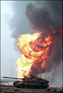 Kuwaiti oil field burning in 1991 Gulf War