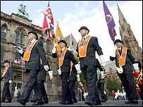 Belfast Orangemen marching
