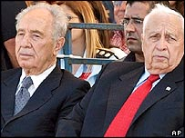 Shimon Peres with Ariel Sharon