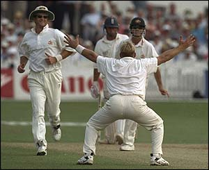 Nasser Hussain succumbs at Trent Bridge during the 1997 Ashes tour
