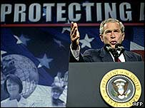 US President George W Bush speaks during a visit to the Oak Ridge National Laboratory, Tennessee
