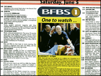 BFBS TV listings in British Army newspaper
