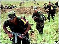 Farc guerrillas in training