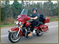 Middle-aged man on big motorbike