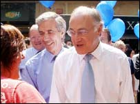 Michael Howard on the by-election campaign trail in the Midlands
