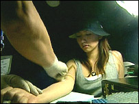 Kuki Uchikawa getting tested 
