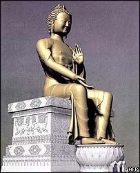 Computer-generated image of the Kushinagar Buddha statue