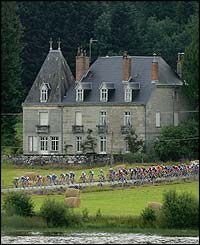 The peloton winds its way through rural France
