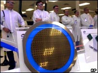 Intel workers at a chip factory