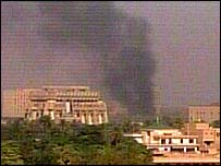 Columna de humo sobre el lugar de la explosión