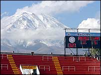 The Misti volcano provides a spectacular backdrop to the Monumental stadium in Arequipa, southern Peru