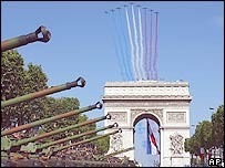 Jets perform a flyover of the Bastille march