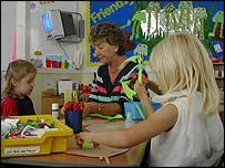 children with teacher doing crafts