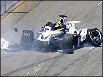 Ralf Schumacher crashes at the US Grand Prix