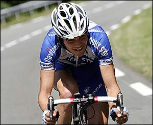Frenchman Richard Virenque breaks clear of the peloton