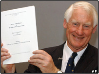 Lord Butler with copy of his report