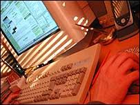 Computer screen and keyboard