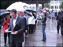 Shareholders enter the M&S AGM 2004