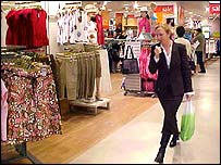 Woman shopping in M&S store on Kings Road, 14 July 2004