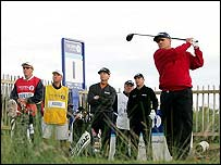 Peter O'Malley drives off the first tee to start the 2004 Open 