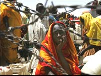 Displaced Sudanese woman at Mornay camp, western Darfur