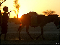 A child at a refugee camp in Chad walks his donkey