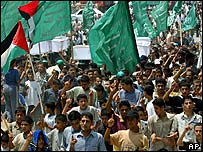 Hamas supporters demonstrate in Gaza