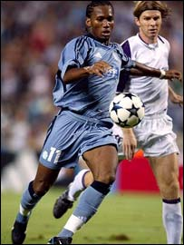 Ivorian striker Didier Drogba in action for Marseille