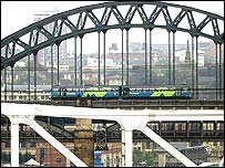 Train arriving in Newcastle