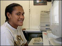 Student using distance-learning terminal