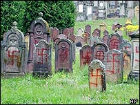 Swastikas and Nazi signs on headstones at a Jewish cemetery in Herrlisheim, eastern France