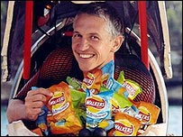 Gary Lineker in a Walkers crisps advert