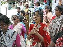Women mourn children killed in the fire (Photo: Senthil Kumar)