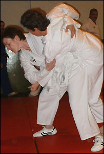 Lisa Dennis (left) and Janet Nuttall at Monarch Ju Jitsu Club