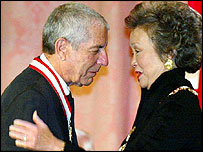 Leonard Cohen and Governor General Adrienne Clarkson