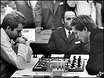 Bobby Fischer (right) playing Boris Spassky in Germany in 1970
