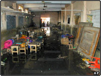 The damaged remains of a school classroom in the town of Kumbakonam, India