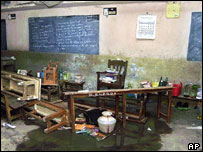 A burned-out classroom after a school fire in Kumbakonam, India