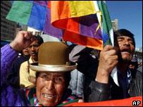 Protestors in the Bolivian capital La Paz
