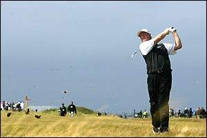 Ernie Els in action on day three of the Open