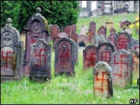 Desecrated tombstones in Herrlisheim, France