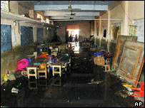 A burnt-out classroom