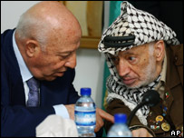 Prime Minister Ahmed Qurei and Palestinian leader Yasser Arafat