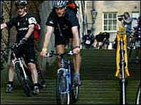 Cyclists race down steps
