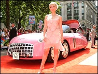 Sophia Myles and Lady Penelope's Thunderbirds car