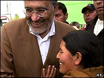 President Mesa is welcomed by a supporter as he votes in La Paz